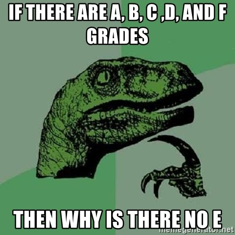 Philosoraptor - if there are a, b, c ,d, and f grades then why is there no e