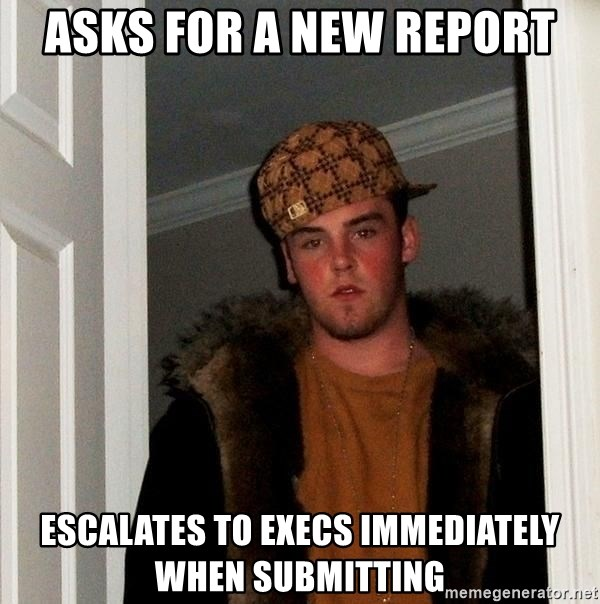 Scumbag Steve - Asks for a new report Escalates to execs immediately when submitting
