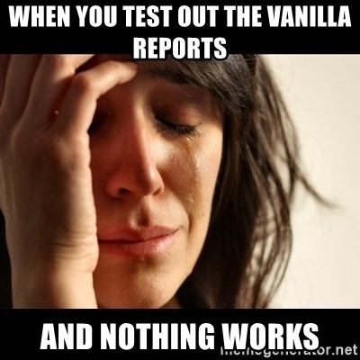 crying girl sad - When you test out the vanilla reports  and nothing works
