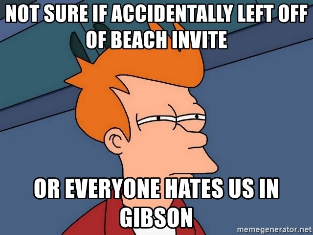 Futurama Fry - Not sure if accidentally left off of Beach Invite Or everyone hates us in Gibson