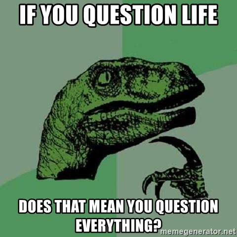 Philosoraptor - If you question life does that mean you question everything?