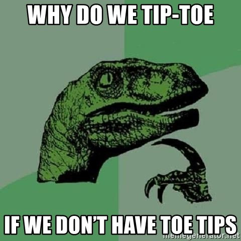 Philosoraptor - Why Do We Tip-toe If we don't have toe tips