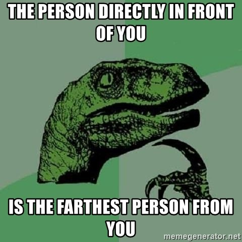 Philosoraptor - The person directly in front of you Is the farthest person from you