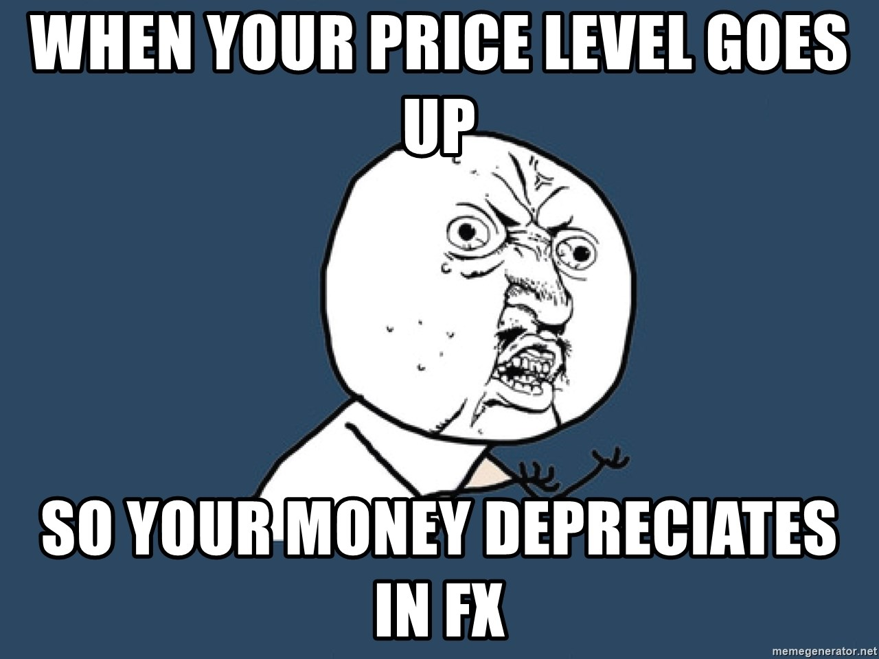 Y U No - When your price level goes up So your money depreciates in Fx