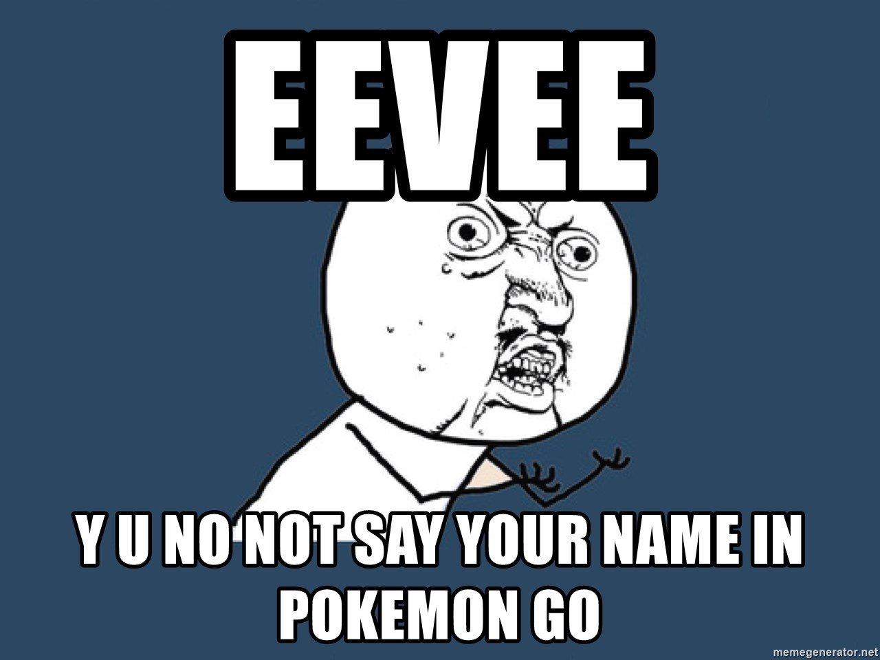 Y U No - eevee y u no not say your name in pokemon go