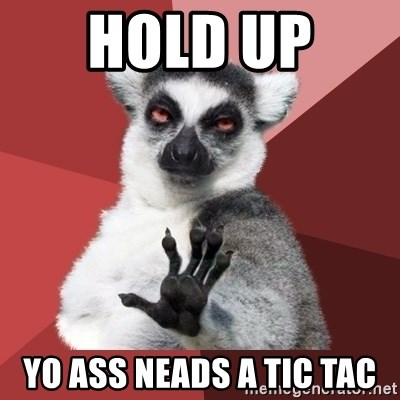 Chill Out Lemur - hold up  yo ass neads a tic tac