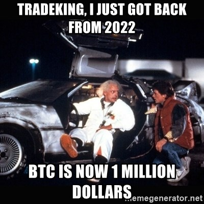 back to the future delorean - Tradeking, I just got back from 2022 btc is now 1 million dollars