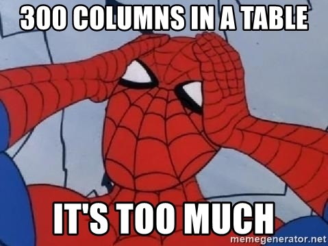 Scared Spider Dude - 300 columns in a table it's too much