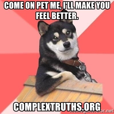 Cool Dog - Come on pet me, I'll make you feel better. complextruths.org