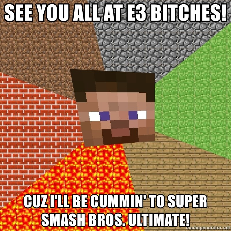 Minecraft Guy - See you all at E3 bitches! Cuz I'll be cummin' to Super Smash Bros. Ultimate!