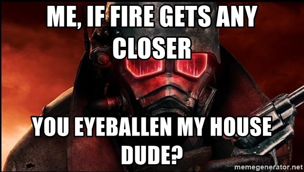 Fallout  - Me, if fire gets any closer You eyeballen my house dude?