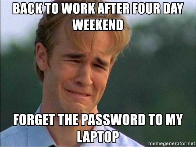 Dawson Crying - Back to Work after Four Day Weekend forget the password to my laptop
