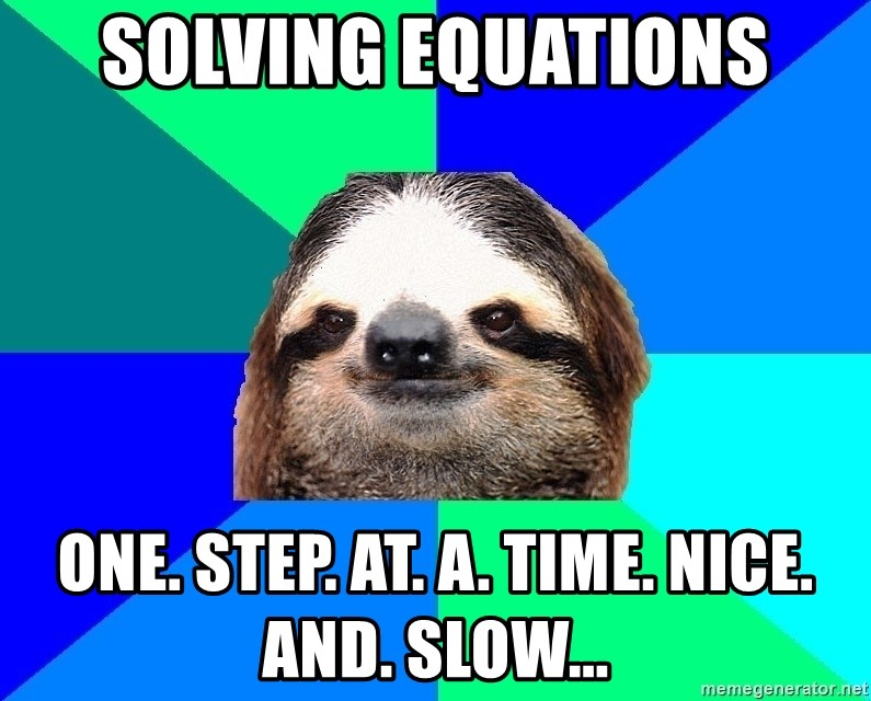 Socially Lazy Sloth - Solving Equations ONE. STEP. AT. A. TIME. NICE. AND. SLOW...