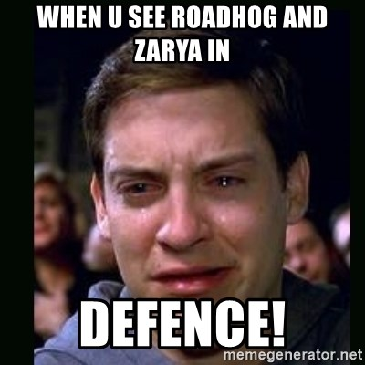 crying peter parker - when u see roadhog and zarya in DEFENCE!