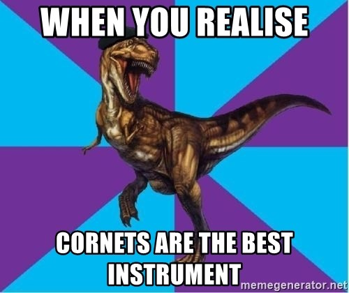 Dinosaur Director - When you realise  cornets are the best instrument