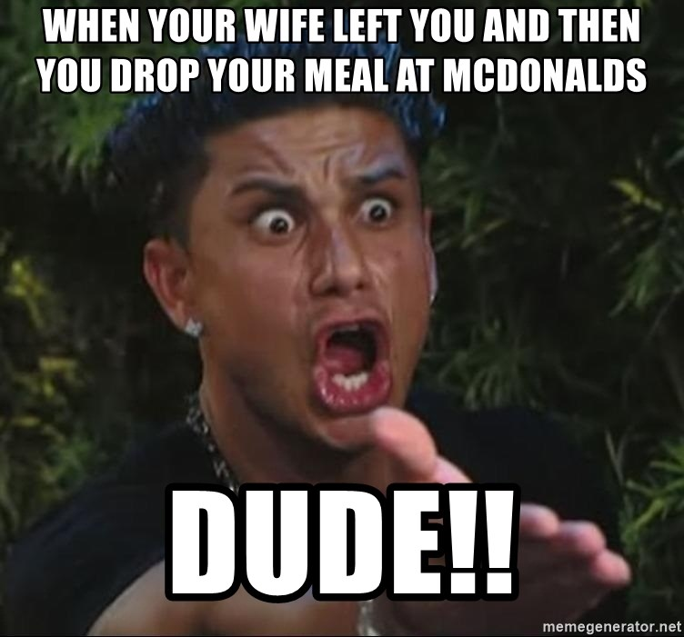 Pauly D - when your wife left you and then you drop your meal at mcdonalds dude!!