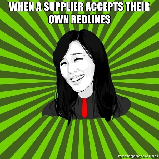 green fan - When a supplier accepts their own redlines