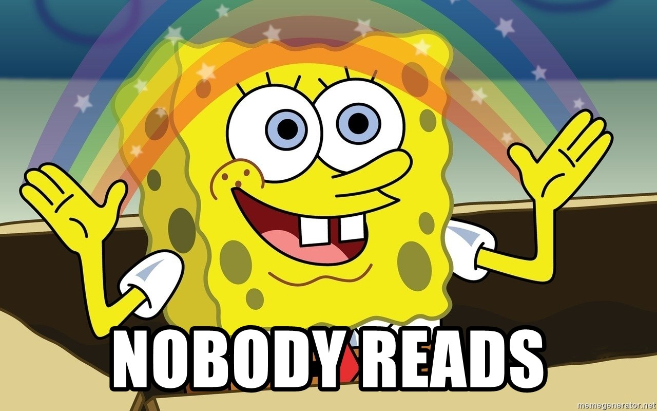 Spongebob Imagination meme - Nobody reads