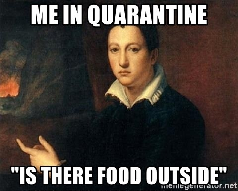 """shit's on fire - Me in quarantine """"Is there food outside"""""""
