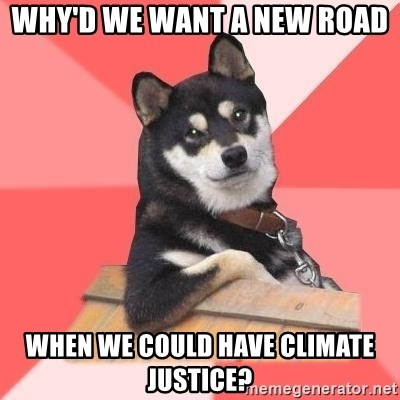 Cool Dog - Why'd we want a new road  when we could have climate justice?