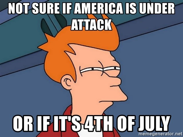 Futurama Fry - NOT SURE IF AMERICA IS UNDER ATTACK OR IF IT'S 4TH OF JULY