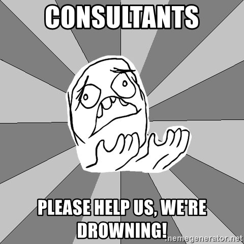 Whyyy??? - Consultants Please help us, we're drowning!
