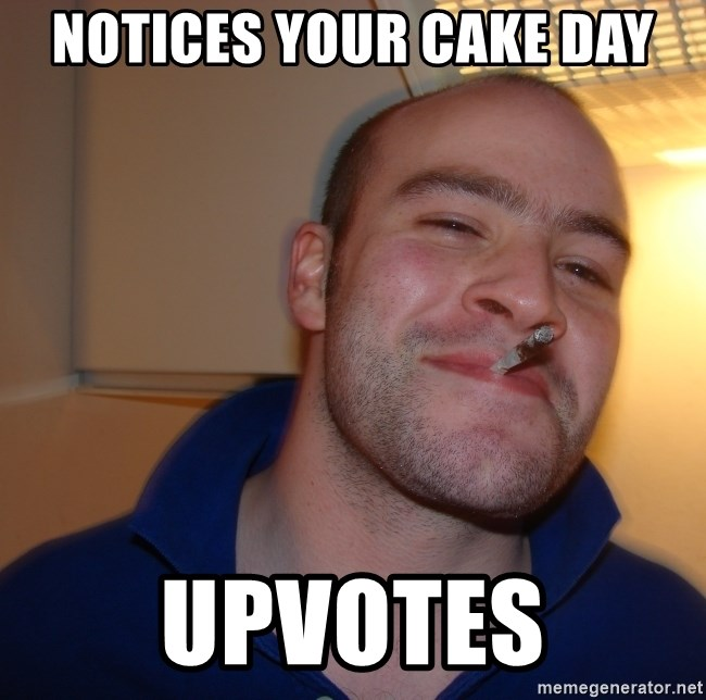 Good Guy Greg - notices your cake day upvotes