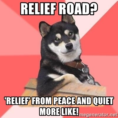 Cool Dog - Relief road? 'relief' from peace and quiet more like!