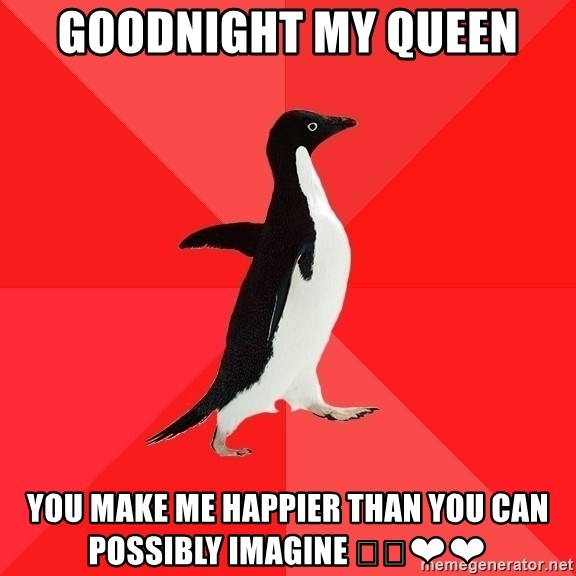 Socially Awesome Penguin - Goodnight my Queen You make me happier than you can possibly imagine 🐧🐧❤❤