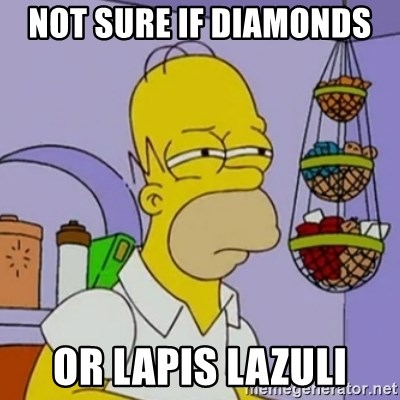 Simpsons' Homer - not sure if diamonds  or lapis lazuli