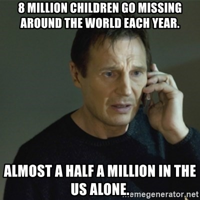 I don't know who you are... - 8 million children go missing around the world each year. Almost a half a million in the US alone.