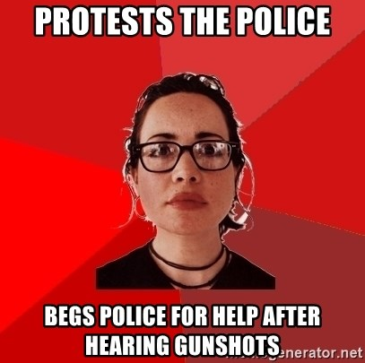 Liberal Douche Garofalo - protests the police begs police for help after hearing gunshots