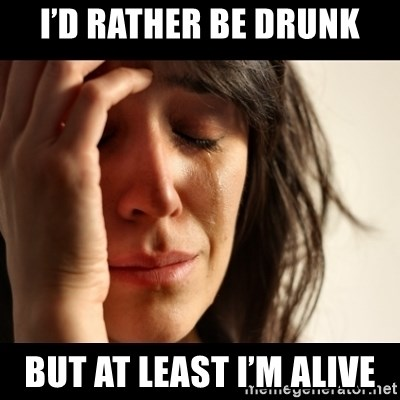 crying girl sad - I'd rather be drunk But at least I'm alive