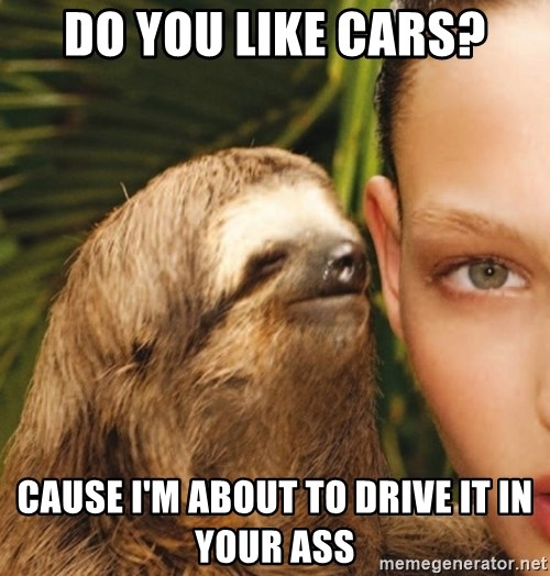 The Rape Sloth - Do you like cars? Cause I'm about to drive it in your ass