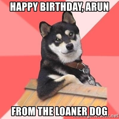 Cool Dog - Happy Birthday, Arun From the Loaner Dog