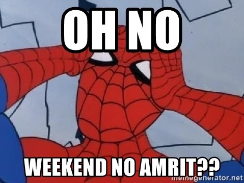 Scared Spider Dude - oh no weekend NO AMRIT??