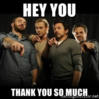avengers pointing - HEY YOU Thank you so much