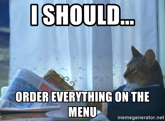 newspaper cat realization - i should... order everything on the menu