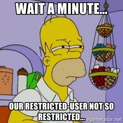 Simpsons' Homer - WAIT A MINUTE... Our Restricted-User NOT so Restricted...