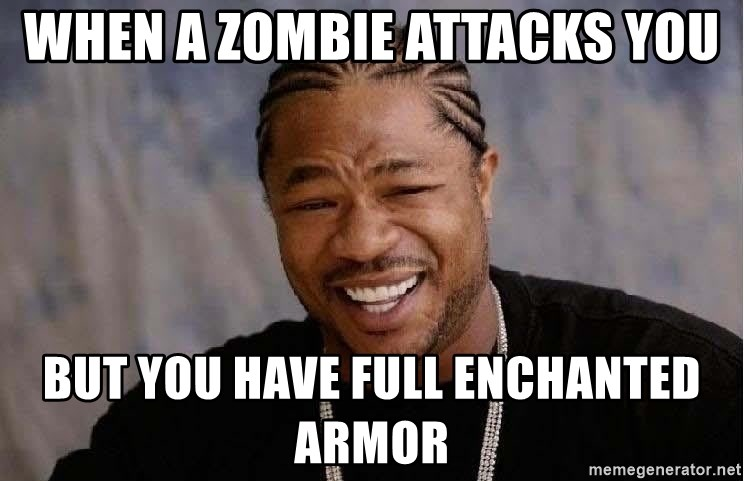 Yo Dawg - When a zombie attacks you But you have full enchanted armor