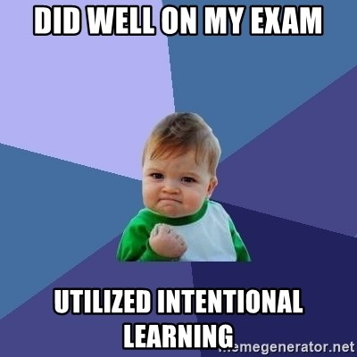 Success Kid - did well on my exam utilized intentional learning