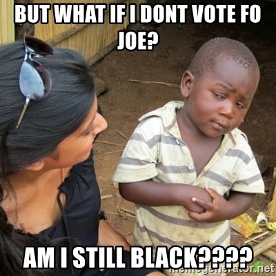Skeptical 3rd World Kid - But what if I dont vote fo Joe? Am I Still Black????