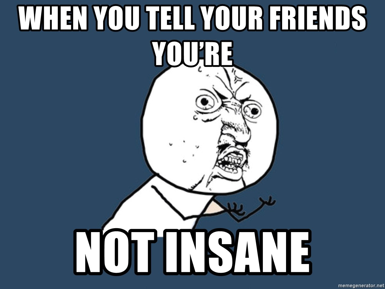 Y U No - When you tell your friends you're  Not insane