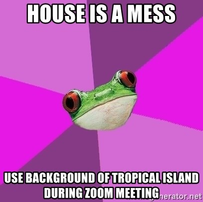 Foul Bachelorette Frog - house is a mess use background of tropical island during zoom meeting