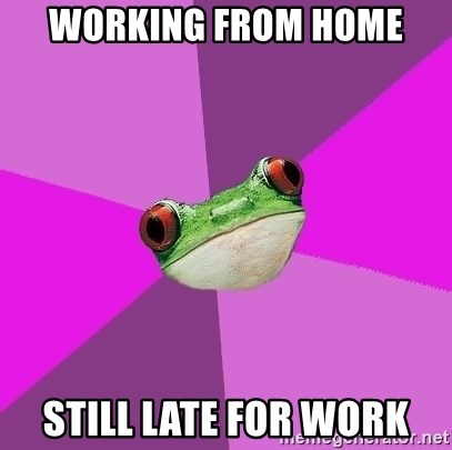 Foul Bachelorette Frog - working from home still late for work