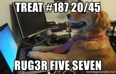 I have no idea what I'm doing - Dog with Tie - TREAT #187 20/45 RUG3R FIVE SEVEN