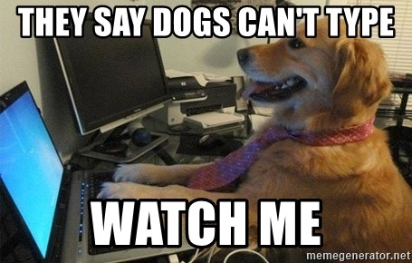 I have no idea what I'm doing - Dog with Tie - They say Dogs Can't Type Watch Me