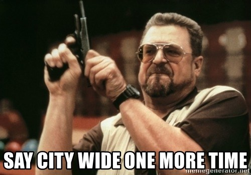 Walter Sobchak with gun - say city wide one more time
