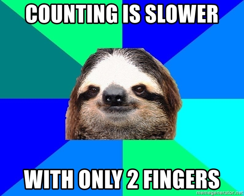 Socially Lazy Sloth - counting is slower With only 2 fingers