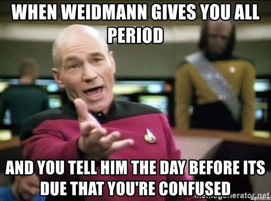 Picard why the fuck - When Weidmann gives you all period and you tell him the day before its due that you're confused